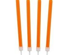 Świeczki urodzinowe w kolorze pomarańczowym.  Wysokość: 8,6 cm  Pakowanie:10 sztuk